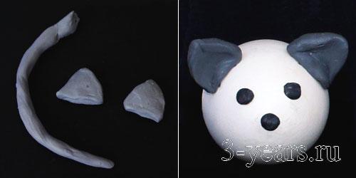 мышка, прикрепляем ушки и хвостик