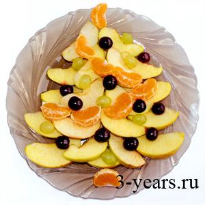 новогоднее оформление блюд, ёлочка из фруктов