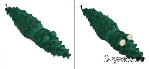 поделка крокодил из шишек, фото 3 и 4